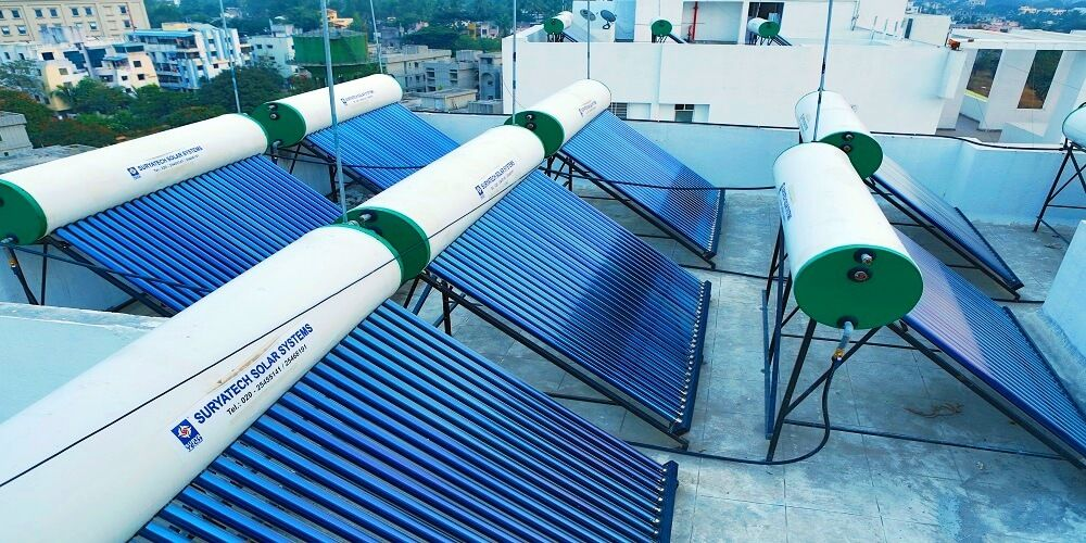 Evacuated Tube Collector (ETC) type of solar water heating systems installed by suryatech solar systems, Pune