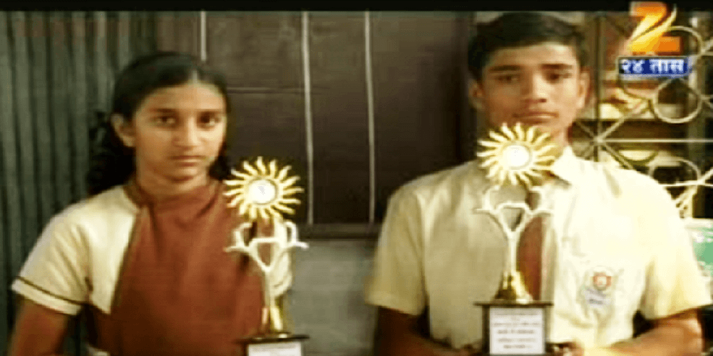 Awards given to students at School Sports Event sponsored By Suryatech Solar Systems, Pune under the social activities performed by the company.