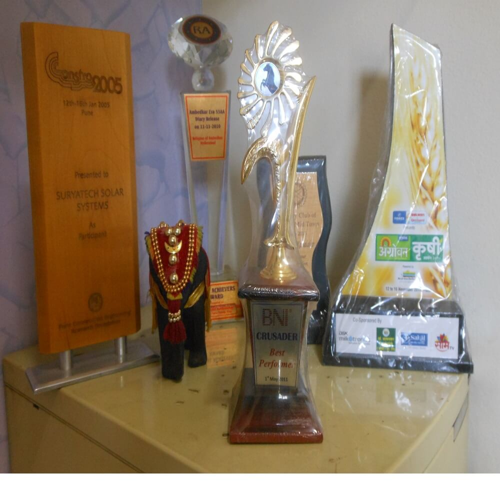 Suryatech Solar Systems has grabbed many awards for it's quality products and services