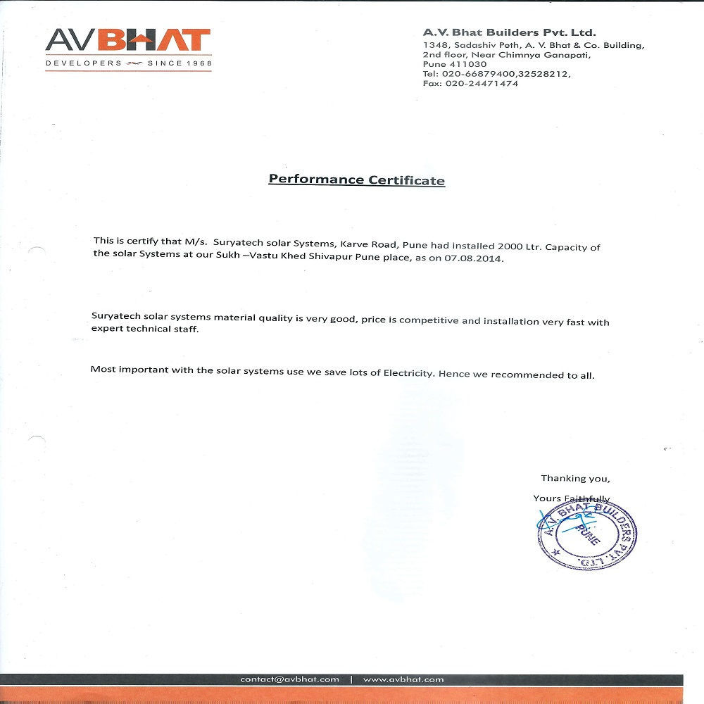 Testimonial received by Suryatech Solar Systems from A.V. Bhat Builders Pvt. Ltd. for it's good services and quick installation.