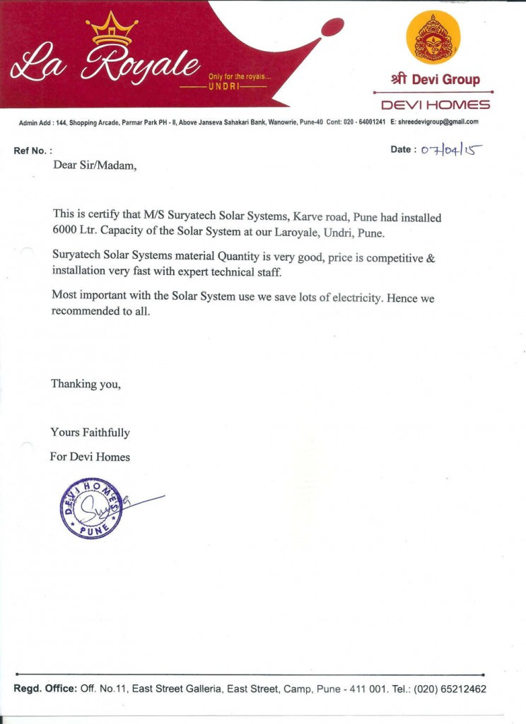 Testimonial received by Suryatech Solar Systems from Devi Homes, Pune for quality services and quick installations.