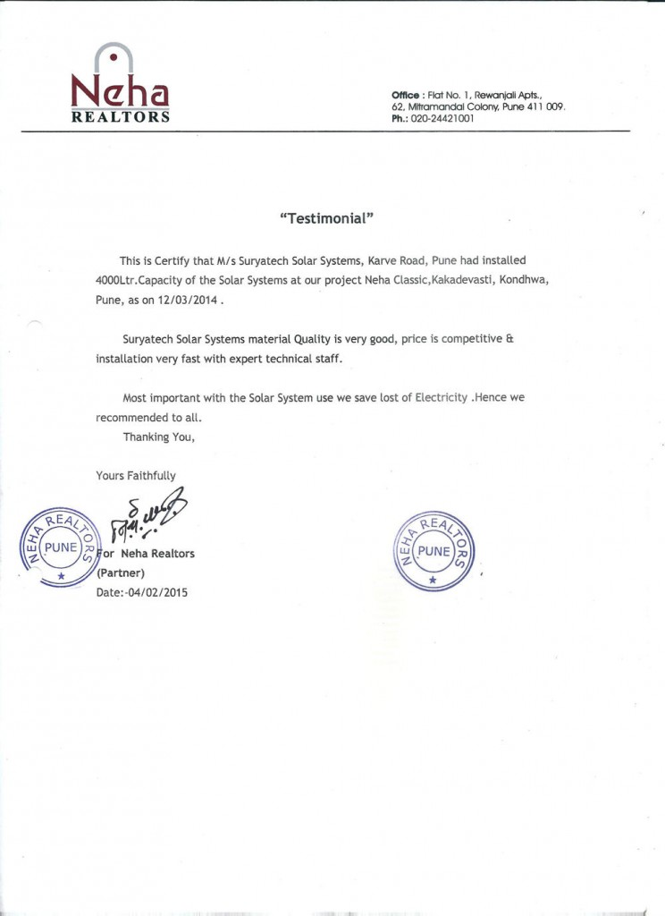 Testimonial received by Suryatech Solar Systems from Neha Realtors, Pune for it's good services and quick installation.