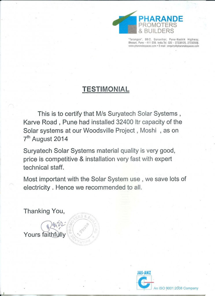 Testimonial received by Suryatech Solar Systems from Pharande Promoters & Builders, Pune for it's good services and quick installation