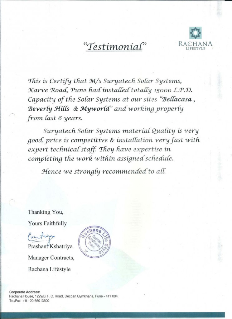 Testimonial received by Suryatech Solar Systems from Rachana Lifestyle,Pune for its quality services and quick installations.